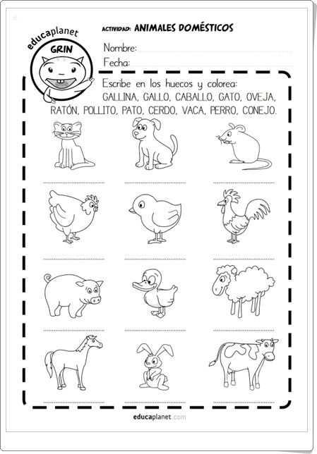"""Animals In Spanish Worksheet and Animales Domésticos"""" Fichas En Espa±ol E Inglés De Educaplanet"""