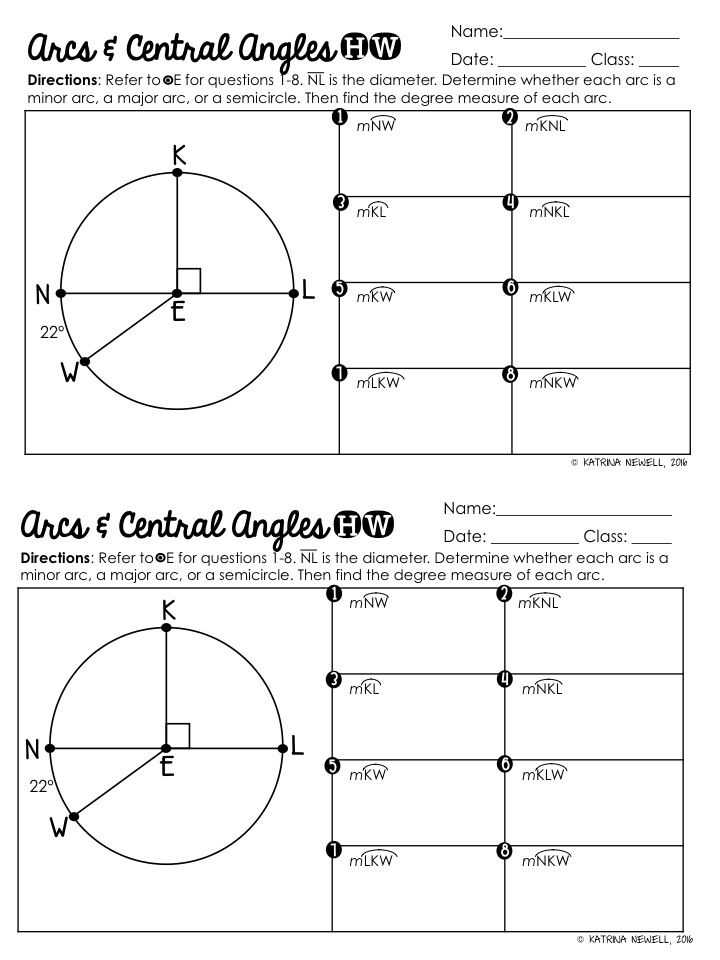 Arc Measure and Arc Length Worksheet or 33 Best Geometry Worksheets Images On Pinterest