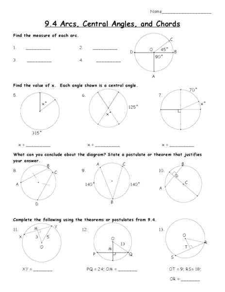 Arcs and Central Angles Worksheet Also Arcs and Chords Worksheet Choice Image Chord Guitar Finger Position