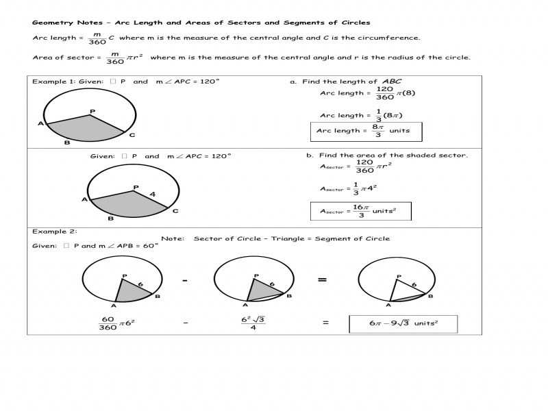 Arcs and Central Angles Worksheet as Well as Arc Length and Sector area Worksheet