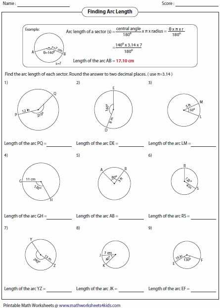 Arcs and Central Angles Worksheet together with Arc Length and Sector area Worksheet
