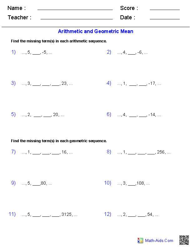 Arithmetic Sequence Worksheet 1 Also Arithmetic and Geometric Means with Sequences Worksheets