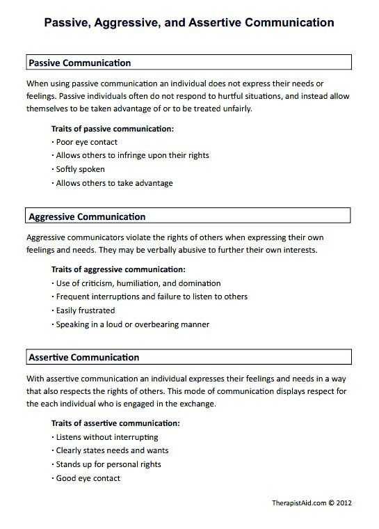 Assertiveness Training Worksheets with Passive Aggressive and assertive Munication Preview