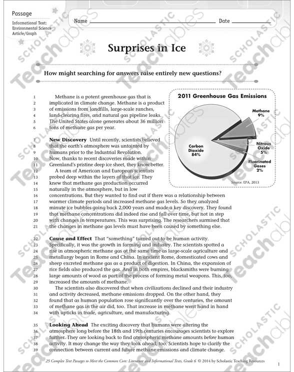 Atmosphere and Climate Change Worksheet Answers or Surprises In Ice Text & Questions