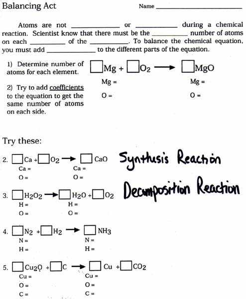 Balancing Chemical Equations Worksheet 2 Classifying Chemical Reactions Answers Along with Unique Balancing Chemical Equations Worksheet Inspirational