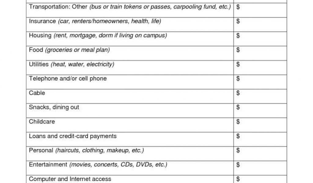 Bankruptcy Expense Worksheet and Spreadsheet for Retirement Planning and Best S Simple Monthly