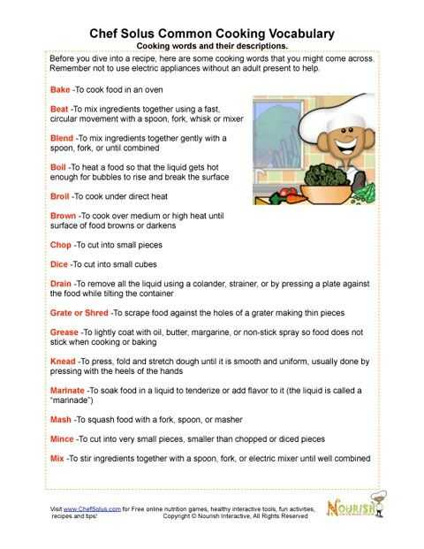 Basic Cooking Terms Worksheet Along with 31 Best Kitchen Activities Images On Pinterest