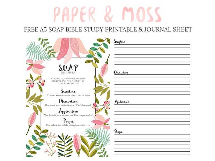 Bible Study Worksheets Along with S O A P Bible Study Free A5 Filofax Printable Paper & Moss