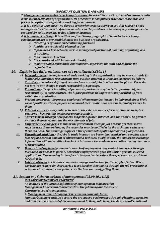 Big Business and Labor Worksheet Answer Key with Principles Of Management Important Questions and Answers for B St…