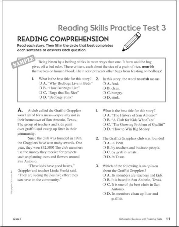 Big Business and Labor Worksheet Answer Key with Scholastic Success with Reading Tests Grade 4 by