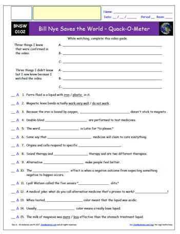 Bill Nye Genes Video Worksheet Answers and Free Bill Nye Saves the World Worksheet and Video Guide Free