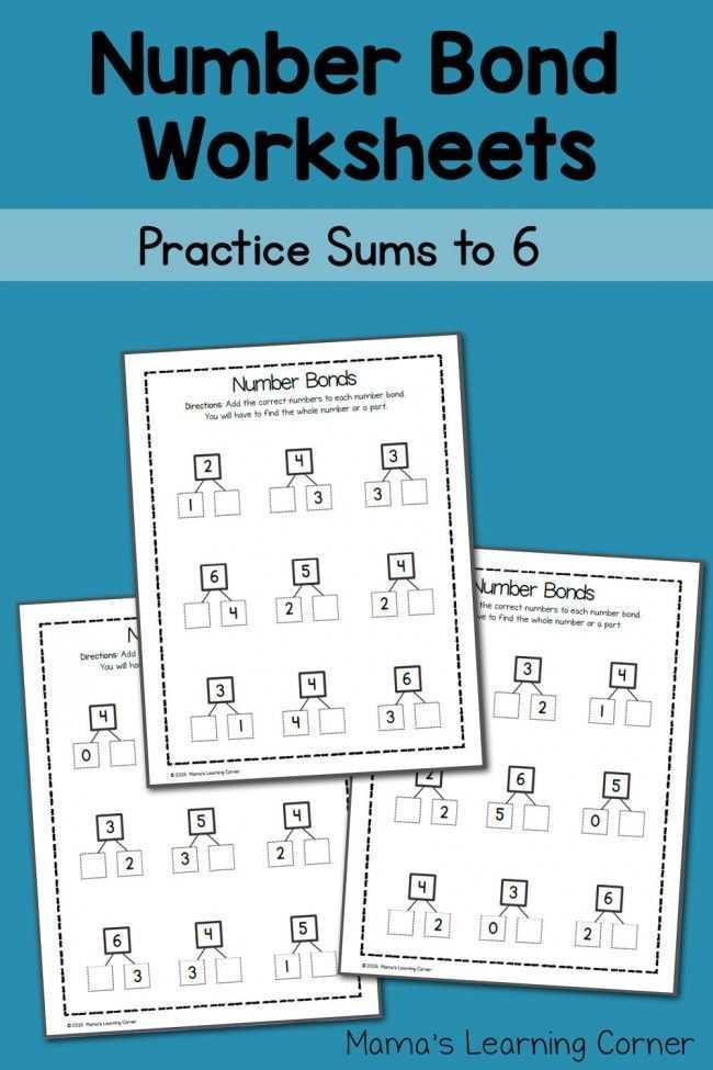 Bonding Basics Worksheet and Number Bond Worksheets Sums to 6