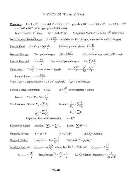 Calculating force Worksheet and Physics 2 formulas Almost Every formula You Need