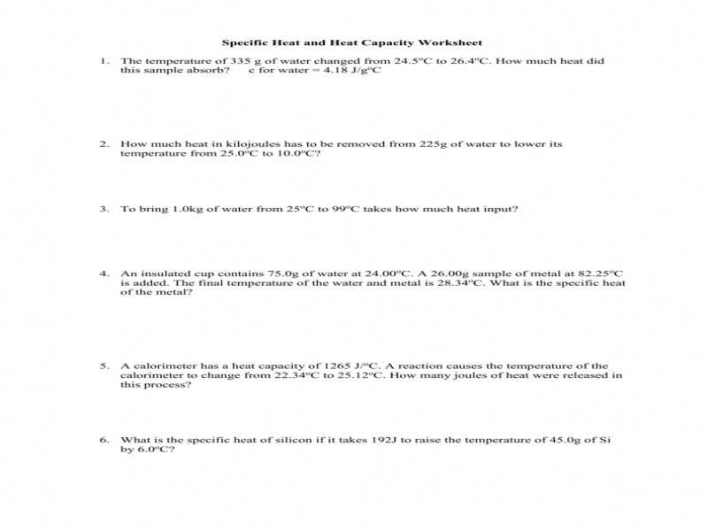 Calculating Specific Heat Worksheet Along with Specific Heat Worksheet Answers