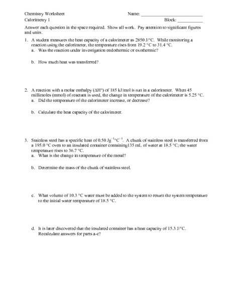 Calorimetry Practice Worksheet as Well as Specific Heat Worksheet Answers