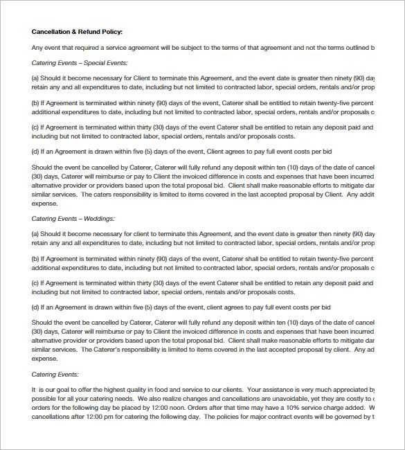 Catering Contract Worksheet with 7 Catering Contract Templates – Free Word Pdf Documents Download