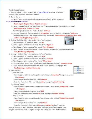 Changes Of State Worksheet Answers with Changes In Matter Worksheet Pdf