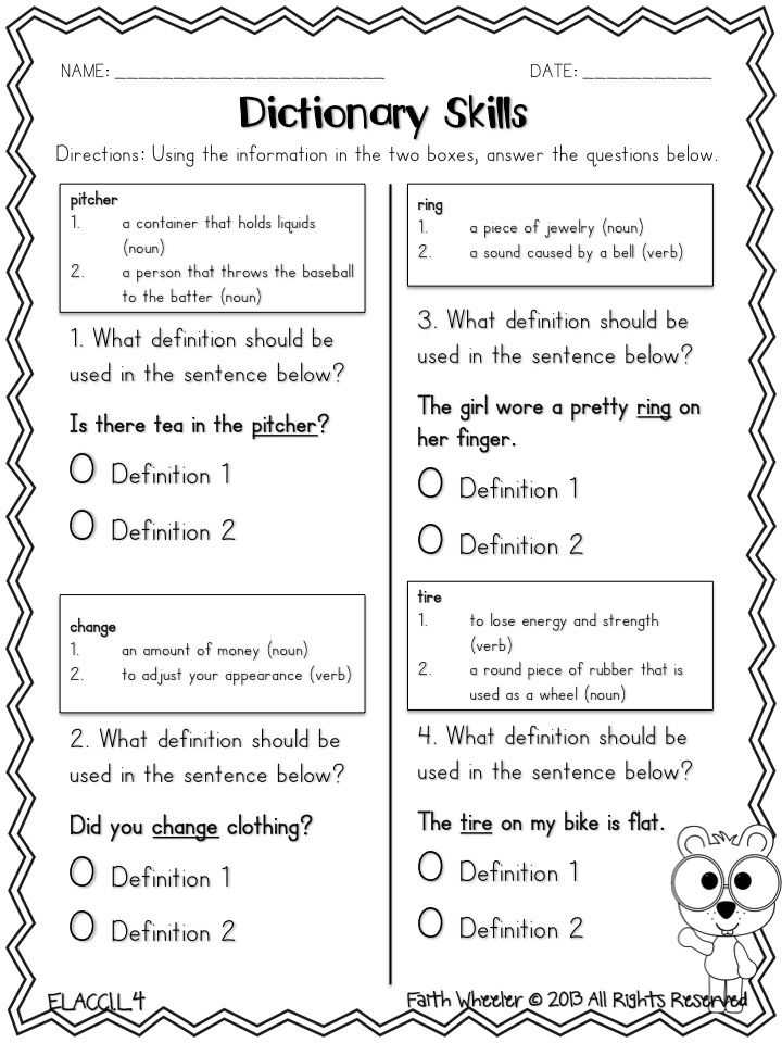 Changing Statements Into Questions Worksheets with Answers Along with Dictionary Skills Freebie Pick the Correct Definition