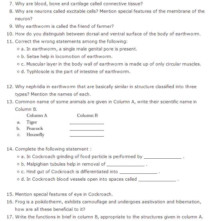 Chapter 7 Cell Structure and Function Worksheet Answer Key and Important Questions for Class 11 Biology Chapter 7 Structural