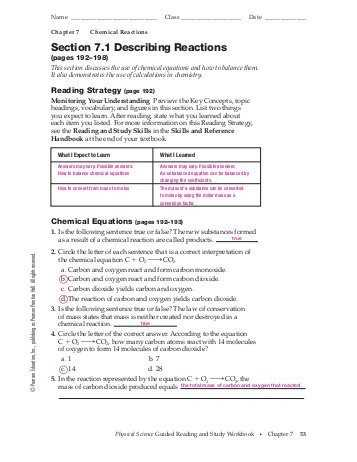 Chapter 7 Worksheet 1 Balancing Chemical Equations Along with Types Chemical Reaction Worksheet Ch 7 Answers Best Bustion