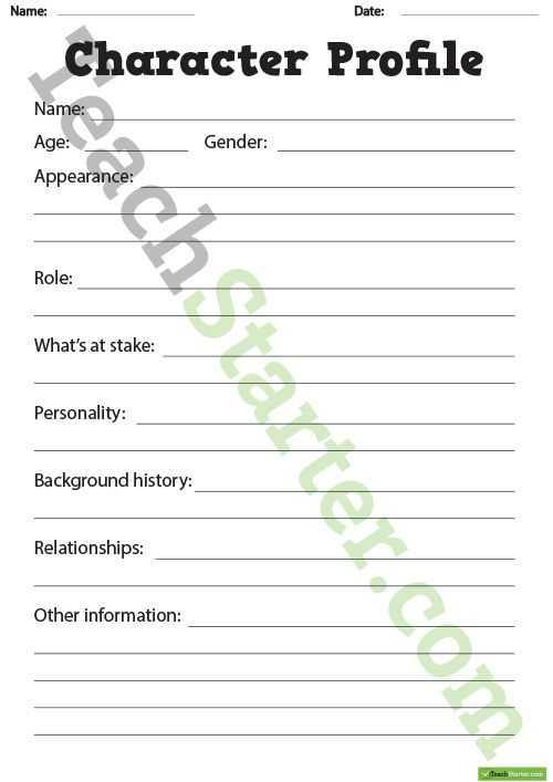 Character Profile Worksheet and Setting Profile Worksheet Narrative Writing Pinterest