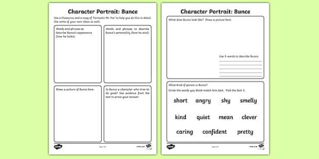 Character Profile Worksheet as Well as Character Profile Bunce Worksheet Activity Sheet to Support