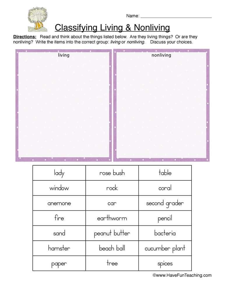 Characteristics Of Living Things Worksheet and Living and Non Living Things Worksheets