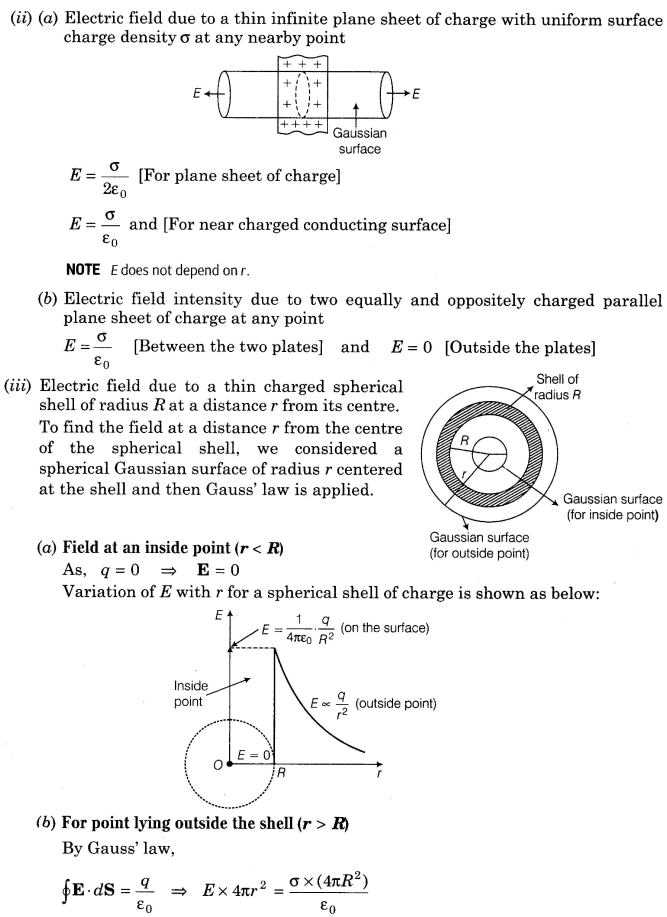 Charge and Electricity Worksheet Answers and Important Questions for Cbse Class 12 Physics Gauss S Law
