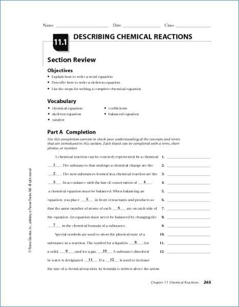 Chemical Reactions Worksheet as Well as Types Reactions Worksheet