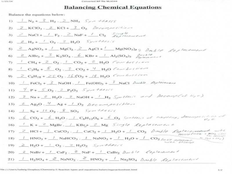 Chemistry Balancing Chemical Equations Worksheet Answer Key with 12 Unique Balancing Chemical Equations Practice Worksheet with