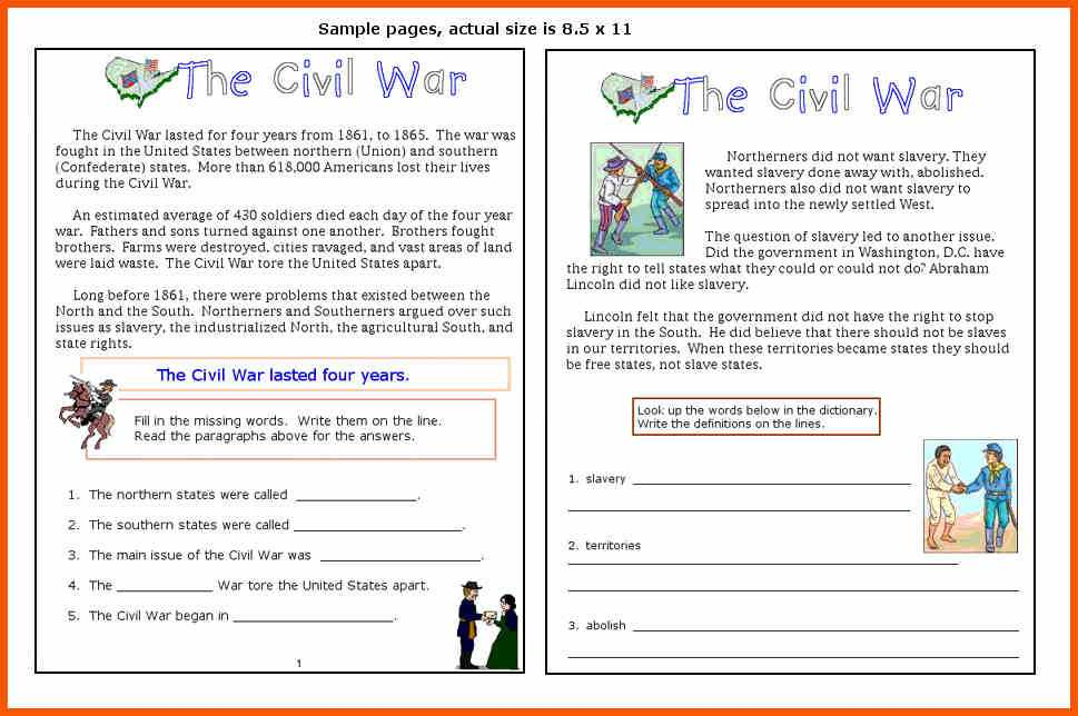 Civil War Causes Worksheet Answer Key Also 13 Civil War Worksheets