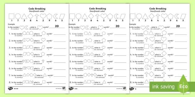 Coding Worksheets Middle School Also Place Value Code Breaking Worksheet Activity Sheet Pack