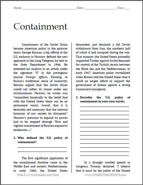 Cold War Vocabulary Worksheet Answers or Containment Cold War Reading with Questions