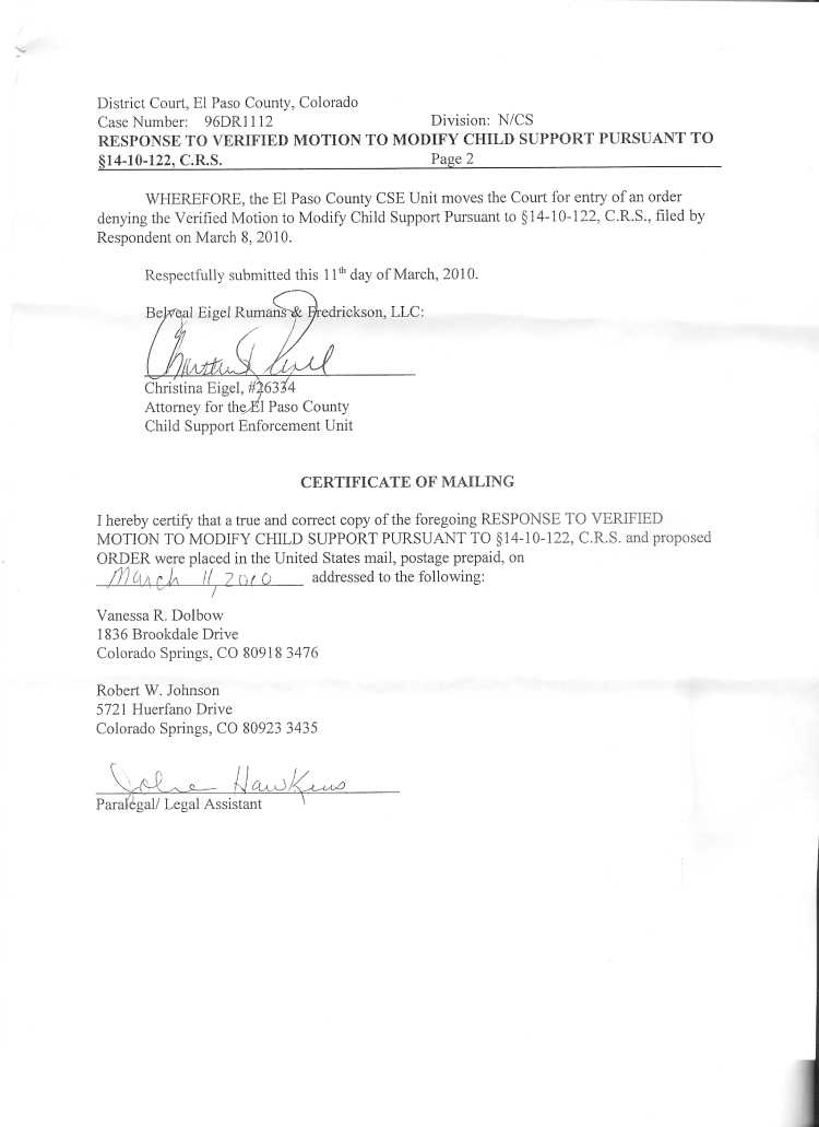 Colorado Child Support Worksheet Also Ii El Paso County District Court Case 96 Dr 1112