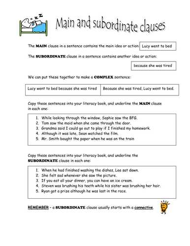 Combining Sentences 4th Grade Worksheets together with A Simple Explanation Of Main and Subordinate Clauses and some