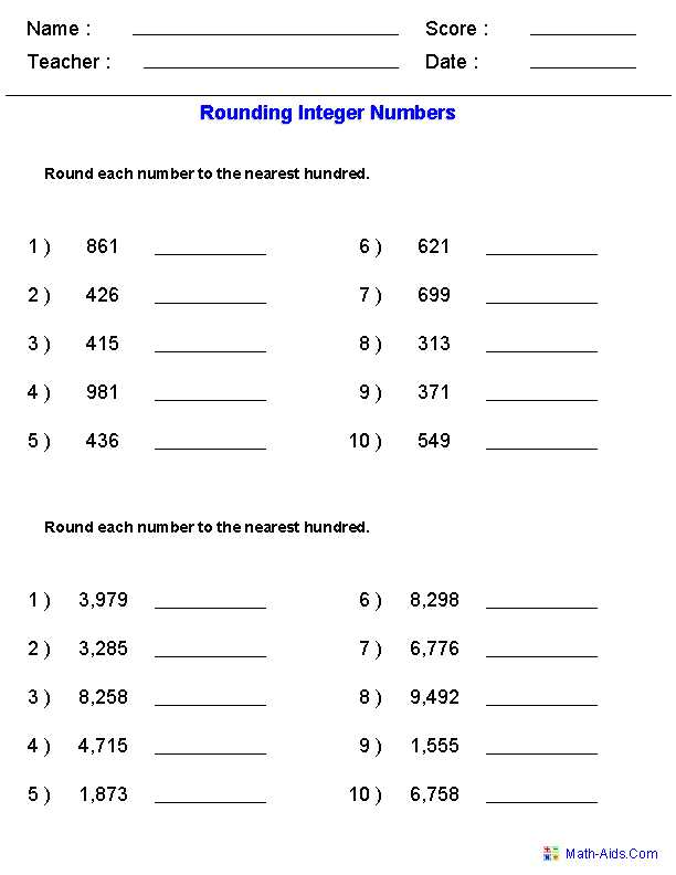 Comparing Decimals Worksheet or Rounding Worksheets for Integers Math Center