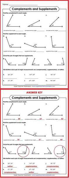 Complementary and Supplementary Angles Worksheet Answers or Free Measuring Angles Worksheets Printables Teaching Resources