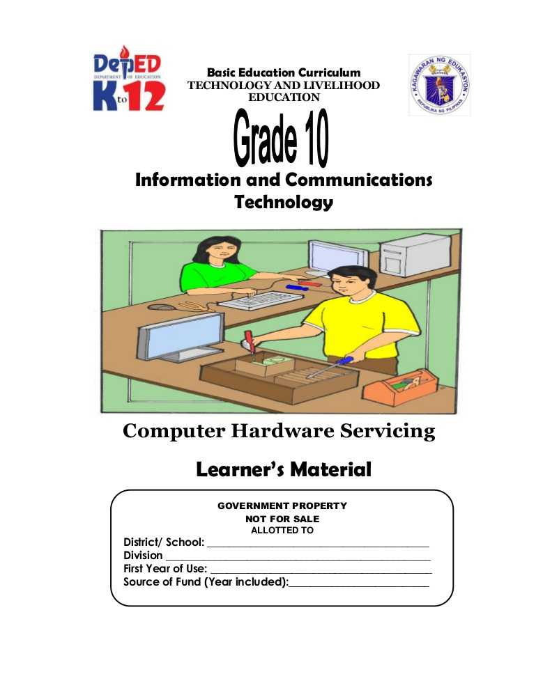 Computer Basics Worksheet Section 8 and Tle Information and Munications Technology Puter Hardware S…