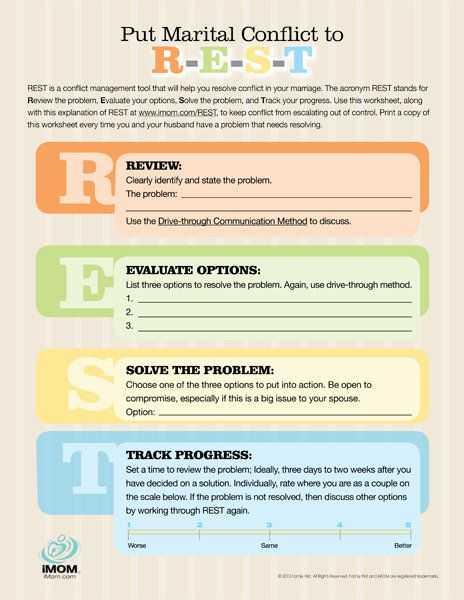 Conflict Resolution Worksheets or Rest Worksheet