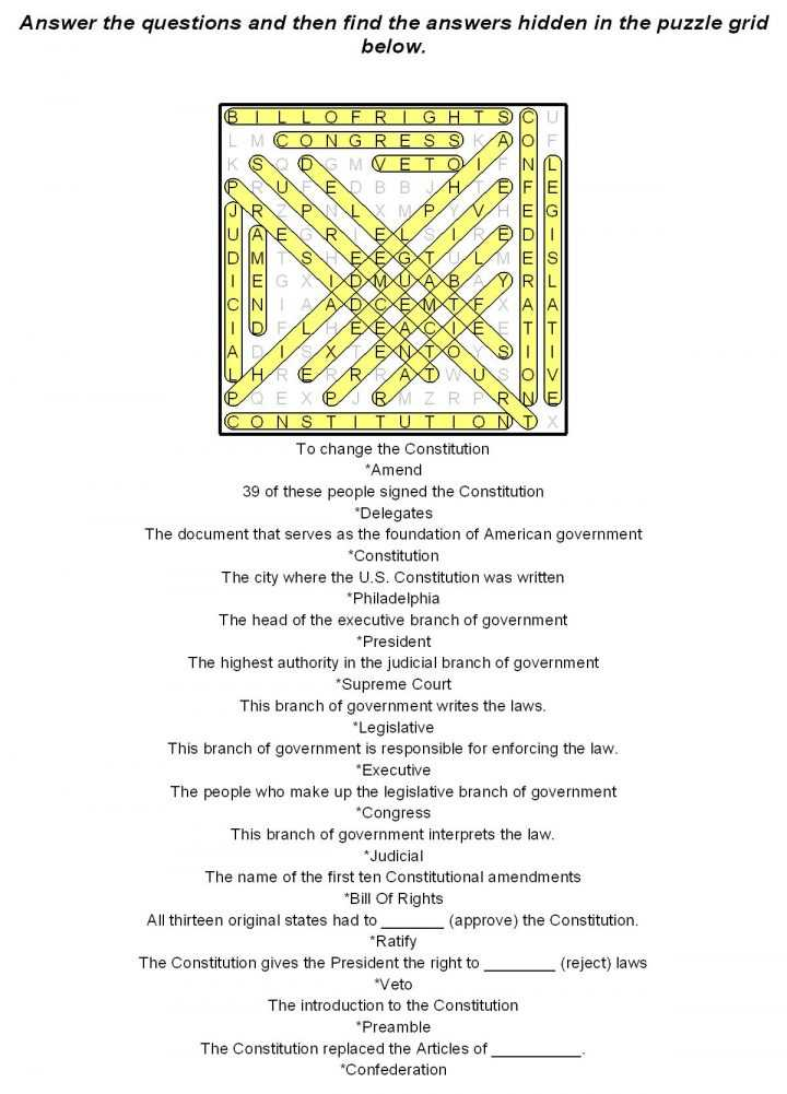 Constitution Worksheet Pdf together with Mathksheets 7th Graded Search Printable Puzzles Pdf Crossword Grade
