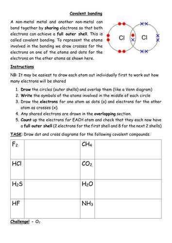 Covalent Bonding Worksheet or Covalent Bonding Worksheet Including Simple Structures Gcse by