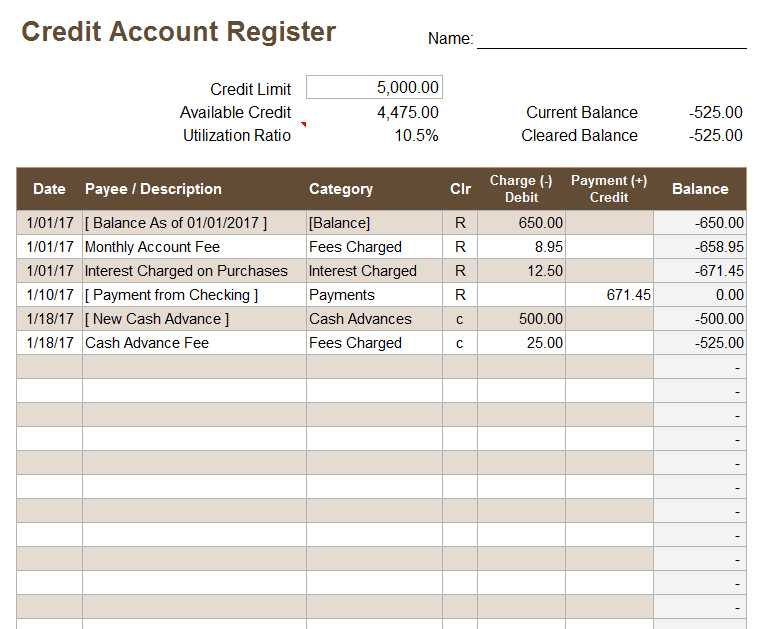 Credit Card Statement Worksheet as Well as Download A Free Credit Account Register Template for Excel to Keep