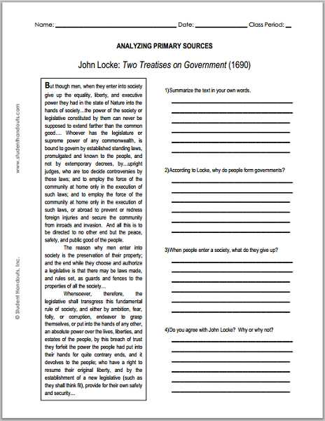 Declaration Of Independence Worksheet Answer Key with John Locke Enlightenment Two Treatises On Government Primary