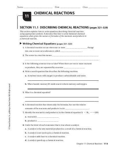 Describing Chemical Reactions Worksheet Answers with Chapter 11 Guided Reading Pdf