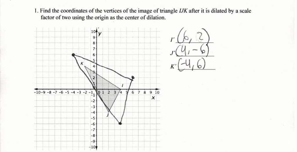 Dilations Worksheet Answer Key Also Dilation Geometry Worksheet Pdftions Kuta software Answers Answer