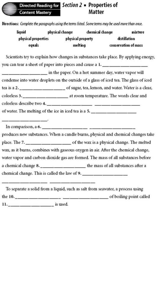 Directed Reading Worksheets Physical Science Answers Also Mixture Worksheet Worksheets for All