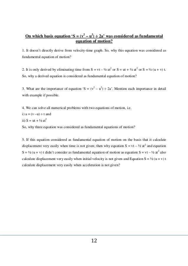 Displacement Velocity and Acceleration Worksheet Along with whole Procedure Of Equations Of Motion