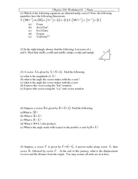 Distance and Displacement Worksheet Answers with Physics Vector Worksheet Kidz Activities