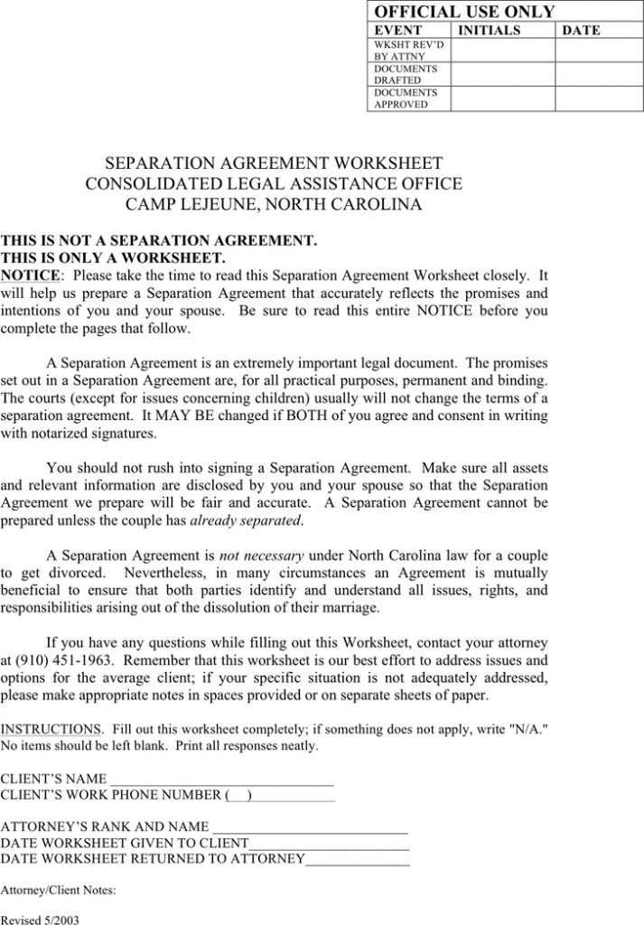 Divorce Annulment Worksheet with Annulment Agreement Best north Carolina Separation Agreement