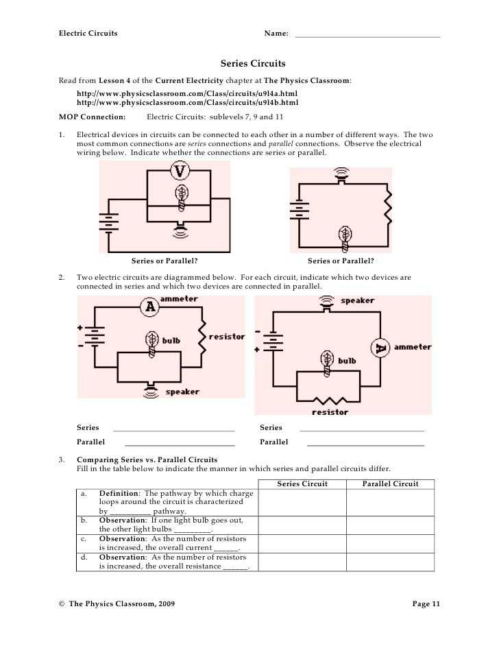 Electric Circuits and Electric Current Worksheet Answers as Well as 28 Beautiful Series and Parallel Circuits Worksheet